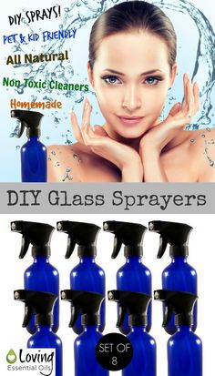 DIY Glass Sprayers | Loving Essential Oils http://www.lovingessentialoils.com/collections/products/products/8-oz-blue-glass-spray-bottle-with-trigger-sprayer-set-of-8 8 oz blue glass spray bottles are perfect for DIY essential oil sprays, made non-toxic house cleaners, pet & kid friendly sprays, all natural remedies.