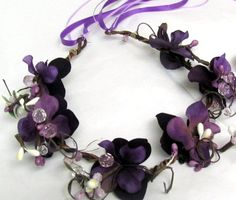 Flower Girl Head Wreath Purple and Crystal Berries by MairzyDozy, $30.00