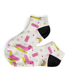 Another great find on #zulily! Pink & Green 'Woof' Ankle Socks #zulilyfinds