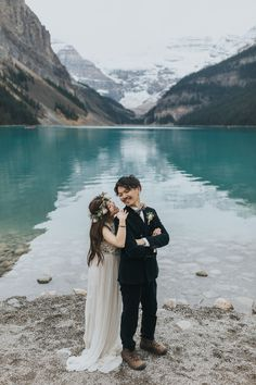 Boho Lake Louise pre-wedding portraits on the shores of Lake Louise. Bride in a beautiful BHLDN boho wedding dress with a floral crown and breathtaking bouquet by Will Flower Co. Bhldn Wedding Dress, Wedding Shoot, Wedding Bouquet, Boho Wedding, Couple Portraits, Wedding Portraits, Mountain Elopement, Local Photographers