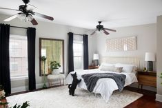 This Philadelphia row home came with many enviable features: Stunning architecture, tons of space, and natural light. But it also came with extremely red-toned cherry wood floors. Black Curtains Bedroom, Dark Curtains, Bedroom Black, Home Bedroom, Bedroom Decor, Bedroom Ideas, Master Bedroom, Bedrooms, Bedroom Inspo