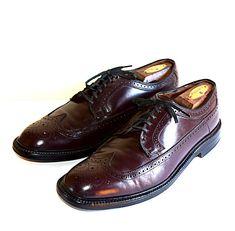 Vintage Men's Sears Black Pebbled Grain Leather Oxford Dress Shoes Sz 9.5 EE