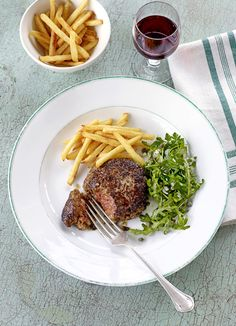 Steak haché and pokey salad - Valentine Warner's take on a typical French lunch dish that falls somewhere between steak tartare and a breadless burger. The salad is 'pokey' because it has a punchy flavour