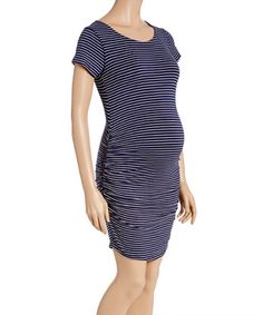 Navy & Ivory Stripe Side-Ruched Maternity Dress