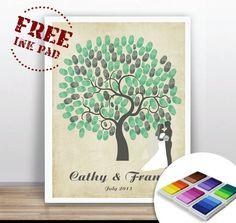 Hochzeitsgästebuch - Fingerprint-Poster - Größe: A3 - ein Designerstück von OneLittlePaper bei DaWanda