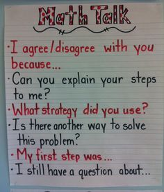 This anchor chart provides questions and sentence stems students can use in clas.This anchor chart provides questions and sentence stems students can use in classroom conversations. Compliments of Eureka Math writer Colleen Sheeron. Math Charts, Math Anchor Charts, Multiplication Anchor Charts, Fourth Grade Math, Second Grade Math, Grade 2, Eureka Math 4th Grade, Stem Students, Sentence Stems