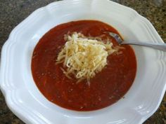 Roasted Red Pepper Tomato Soup with Gouda | From My Carolina Home blog