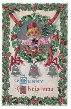 Boy Wearing Fez w/ Toys Inside Wreath Frame~Silver Bells~Merry Christmas~1907+ #Christmas