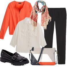 Outfit da ufficio ravvivato dal bomber arancio, composta da pantaloni morbidi camicia con maniche a pipistrello, scaldato dalla sciarpa con motivi etnici e la borsa con tutti i colori.