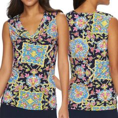 Drapeneck Top M CHAPS Women's Floral Navy Blue / Multicolor Sleeveless Shirt NWT #Chaps #KnitTop #Casual