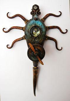 Full Fathom Five, Michael deMeng Assemblage Art Found Object Art, Found Art, Steampunk, Octopus Art, Assemblage Art, Outsider Art, Mixed Media Art, Mix Media, Altered Art