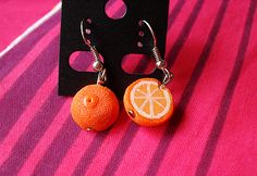 Citrus delight! Orange half earrings, 1:12 scale and handmade in polymer clay