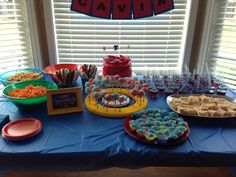 Beyblade party dessert table.