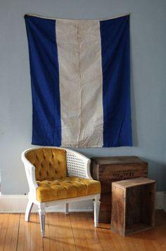 "blue & white International Signal Flag - Letter J or ""On Fire Keep Clear"" #nautical #signal #flag"
