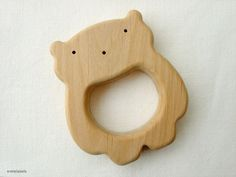 Organic Teething Toy - Wooden Teether - Natural Wooden Toy - Safe Infant Toy  - Teddy Bear on Etsy, $12.90
