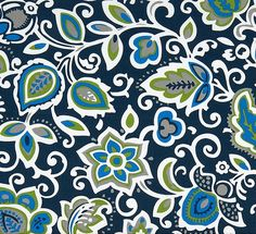 Tropical Floral Navy Blue Indoor Outdoor Fabric by the Yard Designer Navy Royal Taupe Tan Fabric Drapery Curtains Upholstery Fabric B409