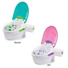 Perfect for potty training your child, the Step-by-Step Potty and stepstool is a complete potty training system. With a built-in lid and toilet tissue holder, this potty helps parents encourage and teach important hygiene habits.