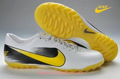 Nike Mercurial CR7 Vapor TF Soccer Cleats White Black Yellow Chuteiras  Baratas 2790cdff07787