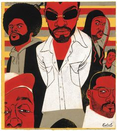 Edel Rodriguez  | Illustration for Esquire Magazine of the band 'The Roots'