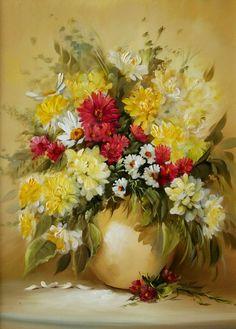 Cuadro de flores al oleo