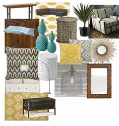 Wood And Teal With Yellow Metallic Grey Accents For Den To Compliment