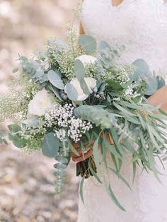 15 Stunning Greenery Wedding Bouquets | TheKnot.com (Pretty! with white roses and babysbreath)
