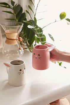 Pink And White Rabbit Mug Set - $40.00 ceramic.  ------   kitchen. cute. tea. coffee. drink ware. home décor.