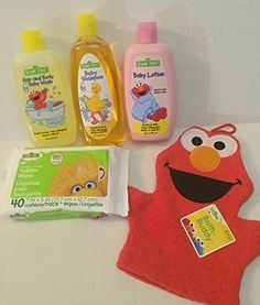 Sesame Street 5 Piece Baby Bathtime Bundle: Baby Shampoo, Baby Lotion, Hair and Body Baby Wash, Baby Wipes, and Elmo Bath Washcloth Blue Cross Labortories http://www.amazon.com/dp/B013FPXGKW/ref=cm_sw_r_pi_dp_sPAWvb1X17DR8