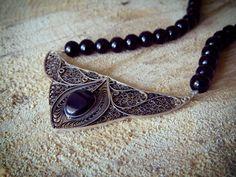 Filigree Jewelry, Silver Filigree, Black Onyx, Close Up, Bracelets, Necklaces, Beaded Necklace, Jewelry Design, Jewels