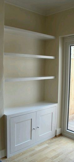 Amazing Unique Ideas: How To Make Floating Shelves floating shelf ikea bedside tables.Floating Shelves With Lights Built Ins. Living Room Storage, New Living Room, Living Room Decor, Built In Cupboards Living Room, Alcove Ideas Living Room, Living Room Built Ins, Dining Room Playroom Combo, Wall Cabinets Living Room, Bedroom Alcove
