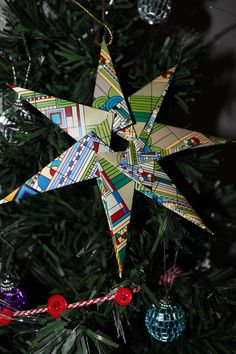 Christmas star decoration Christmas Star Decorations, Christmas Ornaments, Holiday Decor, Craft Ideas, Diy Crafts, Projects, Log Projects, Blue Prints, Christmas Jewelry