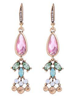 Colorful Faux Crystal Drop Earrings