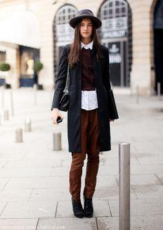 maroon pants, collared shirt
