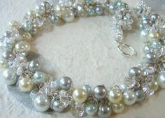 SILVERY BLUE MOON Bridal Wedding Necklace Ivory by SerebaDesigns, $68.00
