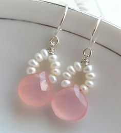 Pink chalcedony & freshwater seed pearls #PearlEarrings