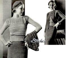 Vintage 1934 crochet pattern for 3 Piece Sports Suit, Striped Blouse, Jaunty Hat. $3.75 USD