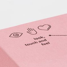 Icon design on packaging with a close up of the pink textured box Icon Design, Graphisches Design, Design Studio, Layout Design, Design Trends, Print Design, Flat Design, Print Layout, Identity Design