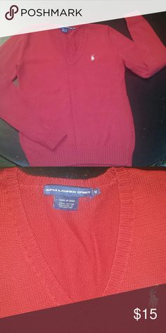 Ralph Lauren Sport Sweater Classic look from Ralph Lauren! Mint condition NWOT! Beautiful red color that is perfect for fall and winter! Always in style!  Bundle and save is on! 15% off 2+ items! Ralph Lauren Sweaters V-Necks