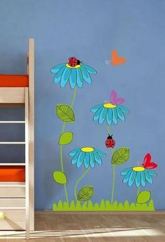 Ladybug Butterfly Flowers Nature Nursery Kids – Full Color Wall Decal Vinyl Decor Art Sticker Remova All of our wall decals are made from high quality vinyl. We guarantee our product and if you are unhappy with the product please contact us to Decoration Creche, Class Decoration, School Decorations, Butterfly Flowers, Flowers Nature, Butterfly Kids, Daisy Flowers, Diy And Crafts, Crafts For Kids