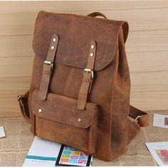 """Large Vintage Handmade Leather Backpack / Satchel / Travel Bag / 17"""" Laptop 17"""" MacBook Pro Bag"""