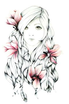 Magnolia #girl #drawing #magnolia #flower #art