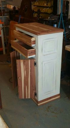 We made this from an old door & an old cedar wardrobe