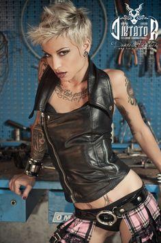 Black Rocker Biker Leather Halter Top Corset by DiktatorFashionLab, €192.00
