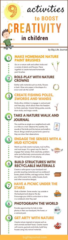 The Secret to Fostering Creativity in Kids (Hint: Go Outside) – Big Life Journal Creative Activities, Summer Activities, Toddler Activities, Learning Activities, Kids Learning, Outdoor Activities, Kids And Parenting, Parenting Hacks, Life Journal