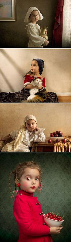 O pai fotógrafo Bill Gekas retrata sua filha como personagens de obras de arte famosas de artistas como Caravaggio.