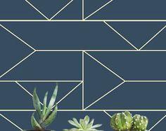 Navy Geometric Removable wallpaper/Self-adhesive/Regular wallpaper/Temporary wallpaper/ Navy Geometric Wallpaper A010
