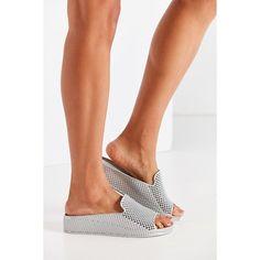 Jeffrey Campbell Fling Jelly Slide ($40) ❤ liked on Polyvore featuring shoes, sandals, platform sandals, platform wedge shoes, wedge heel sandals, platform wedge sandals and jeffrey campbell sandals