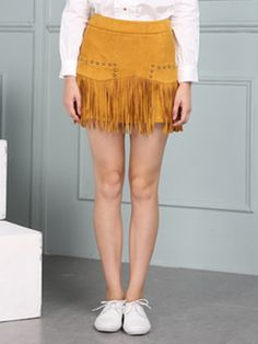 Khaki Suedette Stud Embellished Fringe Hem Skirt | Choies