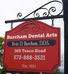 Burcham Dental Arts Business Sign, by Danthonia Designs - The top line of text is carved & painted. The next three lines are carved & palladium-leafed (palladium is a silver metal). Click through to our website to see lots more of our custom handcrafted signs.
