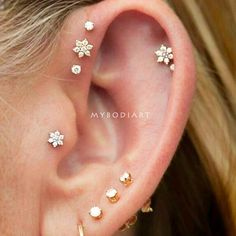 bcd46544d2 Petals Crystal Flower Ear Piercing Jewelry 16G Earring Studs in Silver